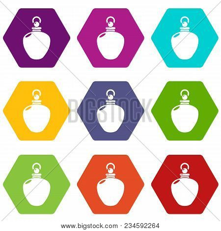 Perfume bottle merchandise icons 9 set coloful isolated on white for web poster