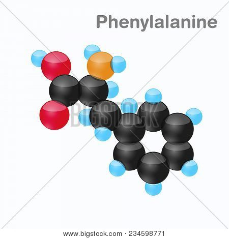 Molecule Of Phenylalanine, Phe, An Amino Acid Used In The Biosynthesis Of Proteins, Vector Illustrat