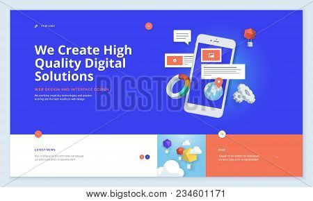 Effective Website Template Design. Modern Flat Design Vector Illustration Concept Of Web Page Design