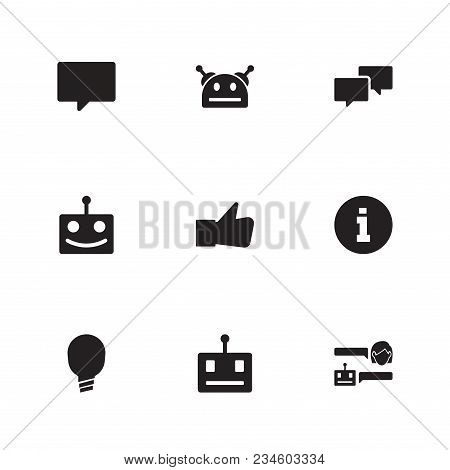 Bot Communication Icon Set And Chatbot Robot With Help, Bubble And Conversation. Thumb Up Related Bo