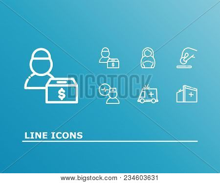 Aid Family Icon Set And Medical Volunteer With Donate Money, Medical Center And Doctor Cardiogram. F