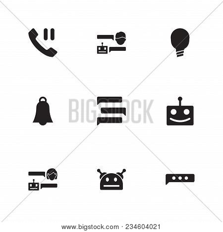 Chatbot Icon Set And Ai Robot With Happy Robot, Smart And Texting. Handset Related Chatbot Icon  Ite