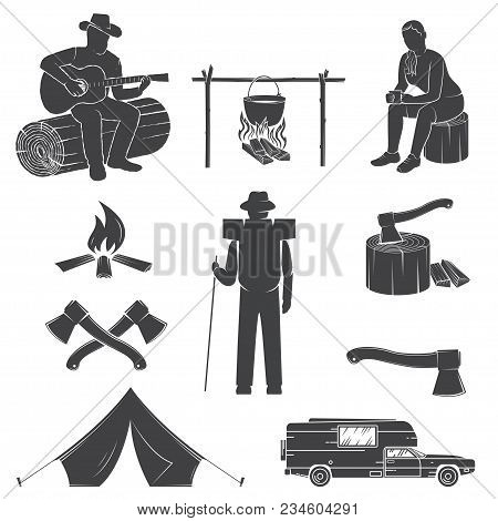 Set Of Camping Icons Isolated On The White Background. Vector Illustration. Set Include Camping Tent
