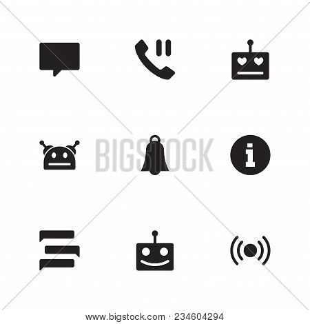 Bot Communication Icon Set And Bubble With Happy Robot, Robot Love And Screen. Smile Talkbot Related