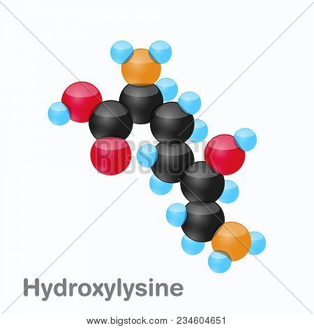 Molecule Of Hydroxylysine, Hyl, An Amino Acid Used In The Biosynthesis Of Proteins, Vector Illustrat