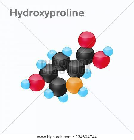 Molecule Of Hydroxyproline, Hyp, An Amino Acid Used In The Biosynthesis Of Proteins, Vector Illustra