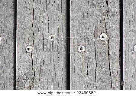 Abstract View Of A Wooden Floor To A Footbridge, Focusing On The Textures And Patterns.