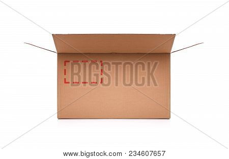 Cardboard Box On White Background. Post Box Of Cardboard On A White Background With A Markup Or An A