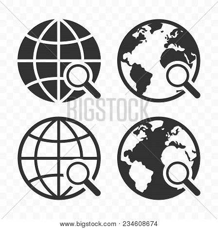Globe With Magnifying Glass Icon Set. Planet Earth And Magnifier. Search Concept Icons.