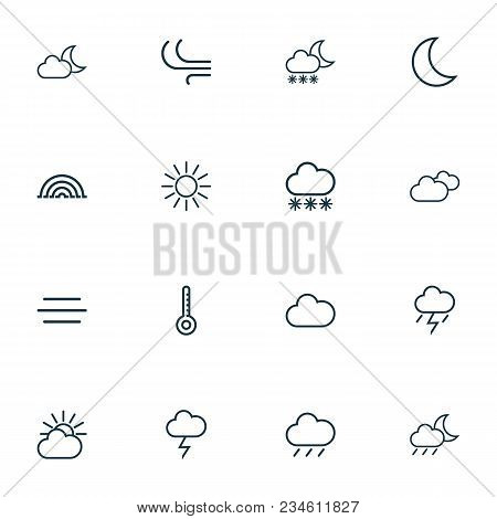 Weather Icons Line Style Set With Rainfall, Overcast, Drizzle And Other Wind Elements. Isolated Vect