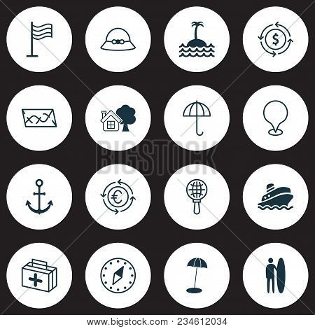 Tourism Icons Set With Anchor, Roadmap, Island Pin Elements. Isolated Vector Illustration Tourism Ic