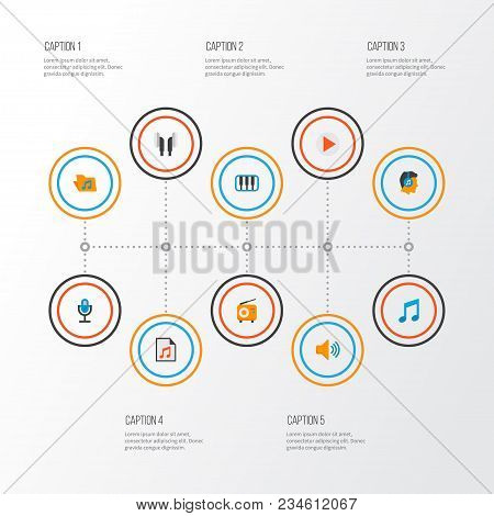 Music Icons Flat Style Set With Play List, Ear Muffs, Mic And Other Male Elements. Isolated Vector I