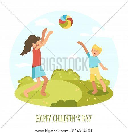International Children Day. Boy And Girl Plaing In Ball Outdoor. Vector Illustration. Eps10