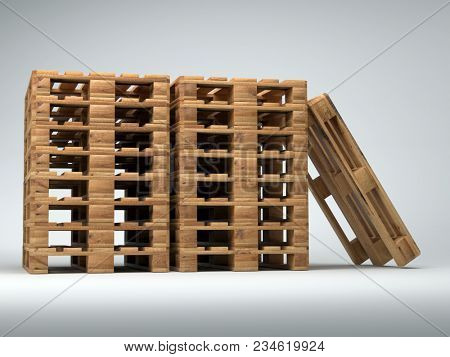 Piles of wooden warehouse pallets shot on light gray background