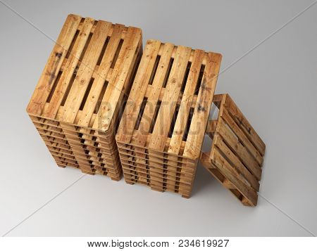 Piles of wooden warehouse pallets shot from above