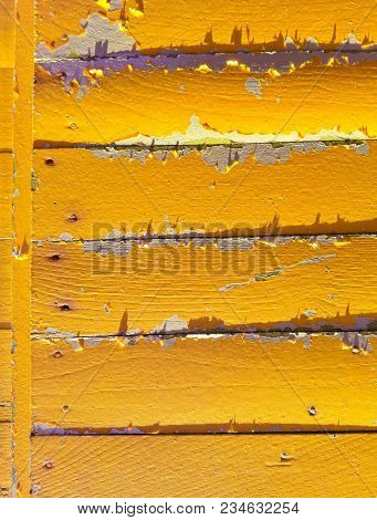 Yellow List Wooden Fence Background. Close-up Wall Or Floor Wooden Yellow Plank Panel Or Board As Ba