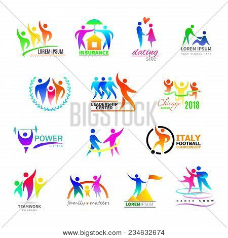 Abstract People Icon Vector Person Sign On Logo Of Teamwork In Business Company Or Fitness Logotype