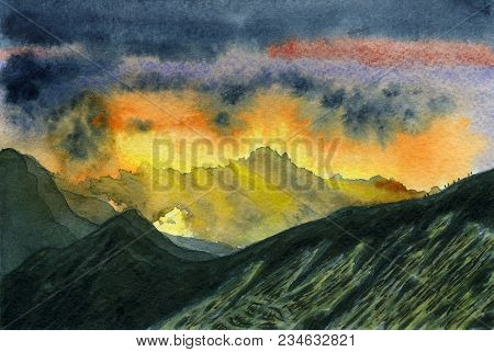 Watercolor Painting. Colorful Mountain Landscape. The Ridge At Dawn. Through The Clouds Sunlight Can