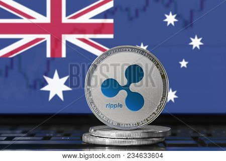 Ripple (xrp) Cryptocurrency; Physical Concept Ripple Coin On The Background Of The Flag Of Australia