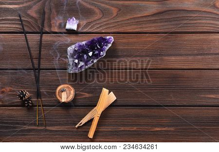 Composition Of Esoteric Objects Used For Healing, Meditation, Relaxation And Purifying. Amethyst Sto