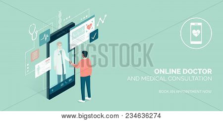Patient Meeting A Professional Doctor Online On A Smartphone And Shaking Hands, Online Medical Consu