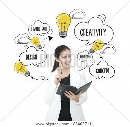 businesswomen thinking with lightbulb. concept for new ideas with innovation and creativity. poster