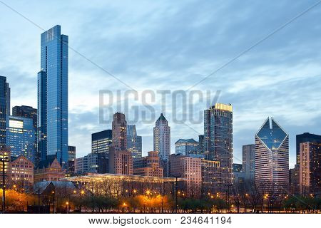Skyline Of Buildings A The Loop, Downtown, Chicago, Illinois