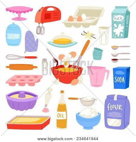 Bakery Ingredients Vector Food And Kitchenware For Baking Cake Set Of Eggs Flour And Milk For Dough