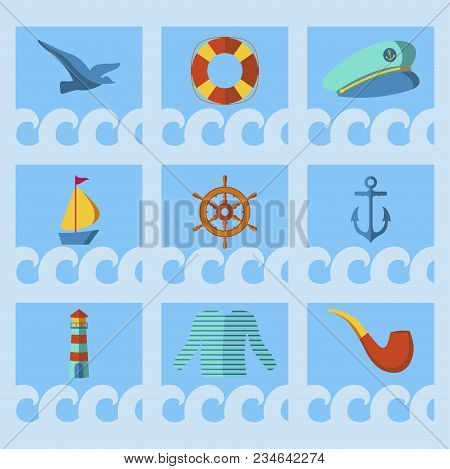 Nautical Animal Elements Wave Ocean Sea Blue Marine Vector Illustration. Water Nautical Element Abst