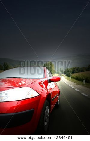 Red car on the highway. Great shoot poster