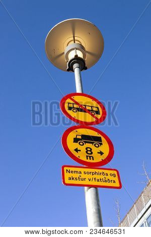 Icelandic Traffic Signs That Says Except Waste Disposal And Disabled Drivers.
