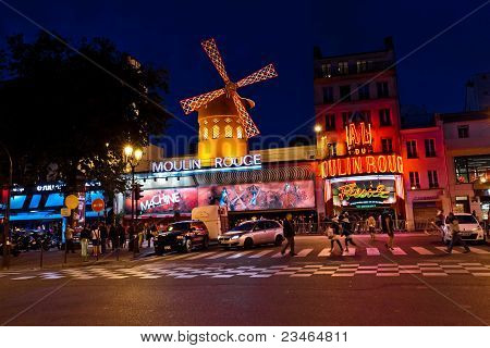 The Moulin Rouge By Night, Paris, France