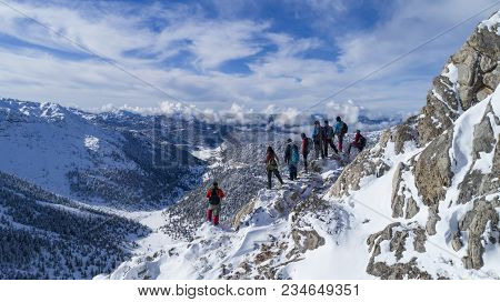 Real Summit Success And Amazing Landscape ;mountaineers Group