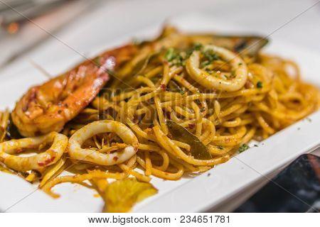 The Fresh Spaghetti Pasta With Seafood In Dish.