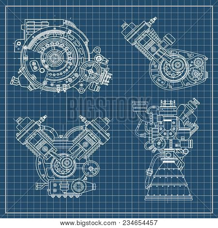A Set Of Drawings Of Engines - Motor Vehicle Internal Combustion Engine, Motorcycle, Electric Motor