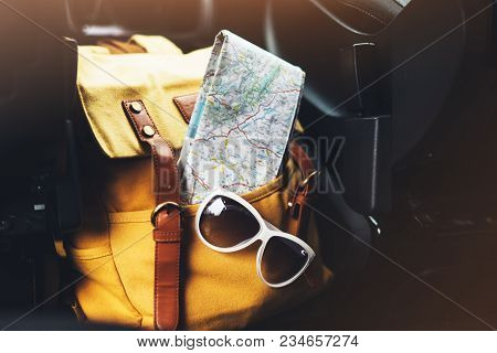 Traveler Relax Holiday Concept, View Planning Way Road In Trip Vacation, Hipster Hiker Tourist Yello