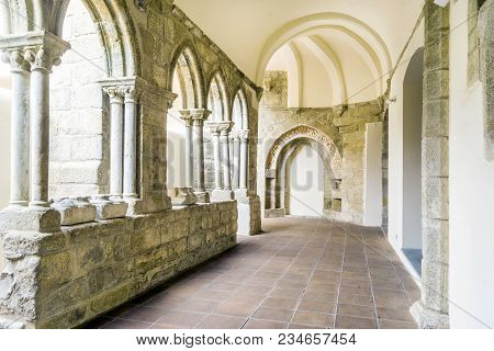 Old Arcades In Royal Church Of St. Francis, Evora, Portugal