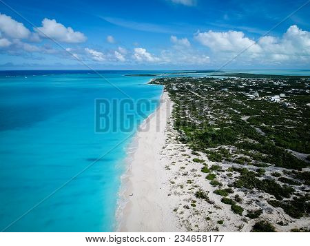 Drone Photo Of Grace Bay Beach, Providenciales, Turks And Caicos.