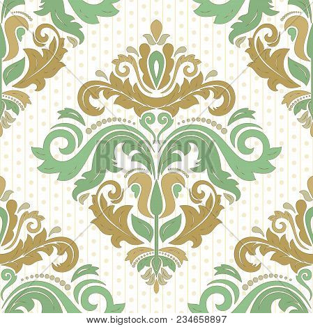 Classic Seamless Vector Pattern. Damask Orient Colored Ornament. Classic Vintage Background. Orient