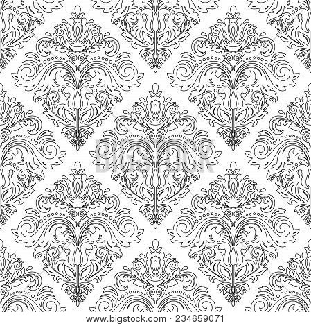 Classic Seamless Vector Pattern With Black Outlines. Damask Orient Ornament. Classic Vintage Backgro