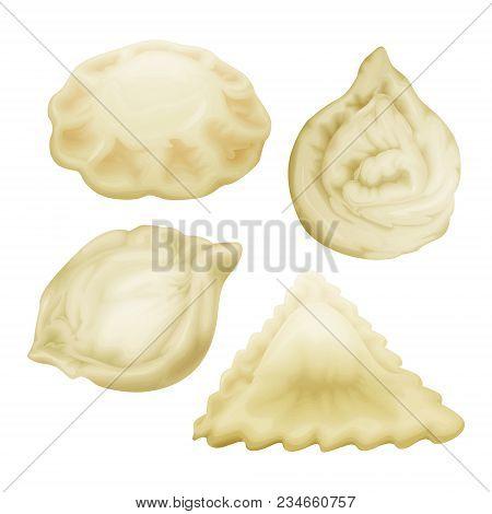 Vector Realistic Dumplings Set. Vareniki Pierogi Xiao Bao Momo Ravioli Tortellini Manti. Stuffed Por
