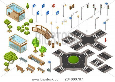 City Traffic Street Isometric 3d Vector Illustration Of Traffic Light, Transport Direction Signs. Is