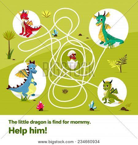 Maze Labyrinth Children Game Vector Illustration. Cartoon Dragons, Help Find Way To Child Egg On Tan
