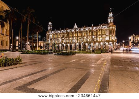 Havana, Cuba - March 19, 2018: Night View Of The Gran Teatro De La Habana. The Great Theater Of Hava