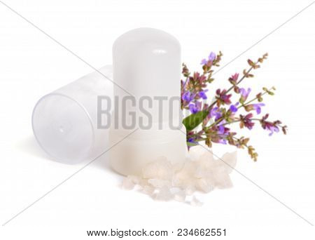 Mineral Potassium Alum Crystal Stick Use As Underarm Deodorant. With Sage Flover. Isolated On White