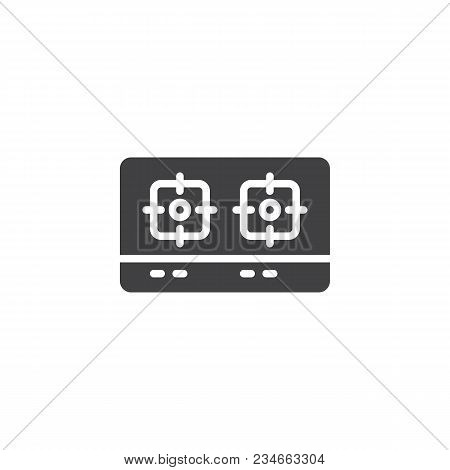 Gas Stove Top View Vector Icon. Filled Flat Sign For Mobile Concept And Web Design. Dual Head Stove