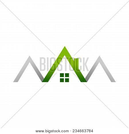Green House Realty House Logo Symbol Vector Graphic Design