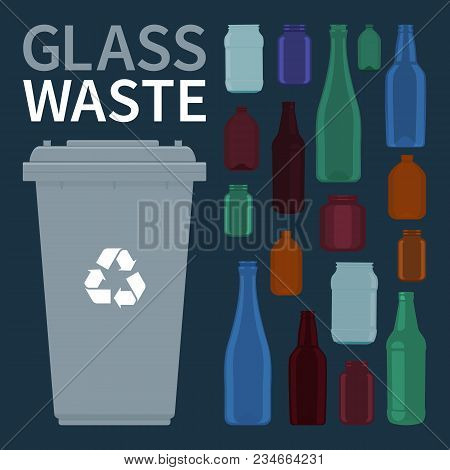Bin For Recycling Glass Bottles And Jars. Vector Illustration.