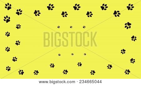 Frame Paw Prints Walking The Animal. Traces Isolated On A Yellow Background.