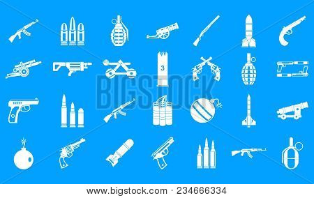 Weapons Ammunition Icon Set. Simple Set Of Weapons Ammunition Vector Icons For Web Design Isolated O